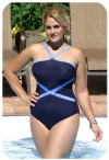 Flattering womens plus size bathing suits with halter neck and detail