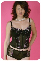FUll figured lingerie available in plus size - black lace knickers and vest